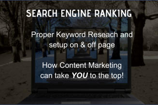 SEARCH ENGINE RANKING Proper Keyword Reseach and setup on & off page  How Content Marketing  can take YOU to the top!